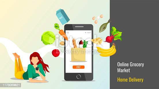 istock Young woman with smartphone and food. 1173059621
