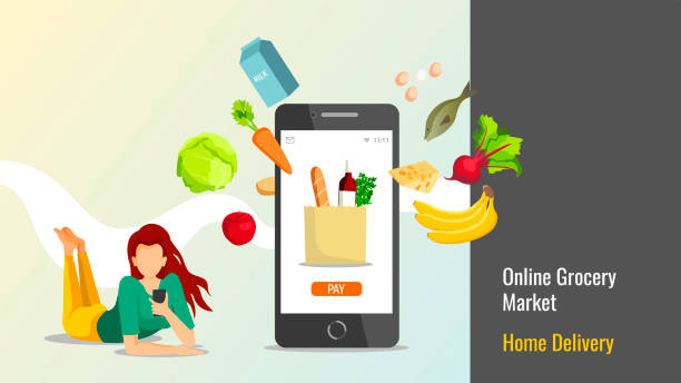 Young woman with smartphone and food. Banner design for Grocery store, Online Market, Home delivery. Young woman with smartphone and food. Vector illustration in a flat style. grocery store stock illustrations