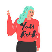 Young happy woman with turquoise long hair. You rock lettering. Naive style vector.