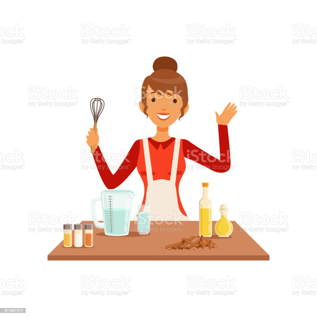Young woman with whisk baking, housewife girl cooking food in the kitchen flat vector Illustration vector art illustration