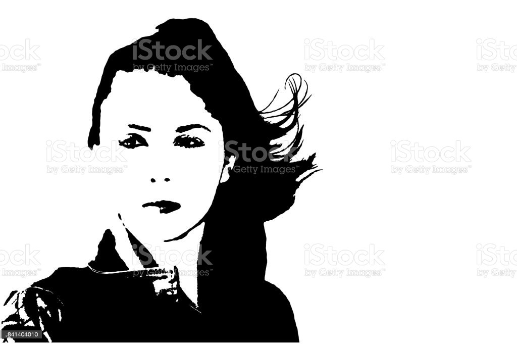 Young Woman With Windswept Hair - Vector vector art illustration
