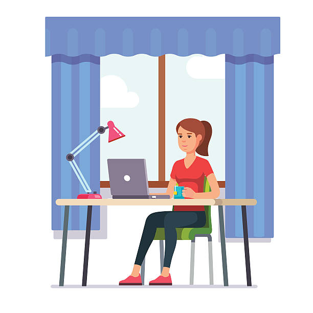 young woman working at her home office desk - schreibtischstühle stock-grafiken, -clipart, -cartoons und -symbole