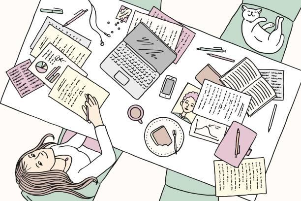 stockillustraties, clipart, cartoons en iconen met jonge vrouw die thuis bij haar bureau werkt - woman home magazine