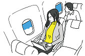 Young woman working in airplane