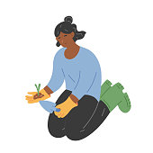 Young woman working in garden, female character sitting on knees and planting seedlings. Vector hand drawn cartoon illustration of cute girl gardener. Urban gardening hobby, leisure time outdoors.