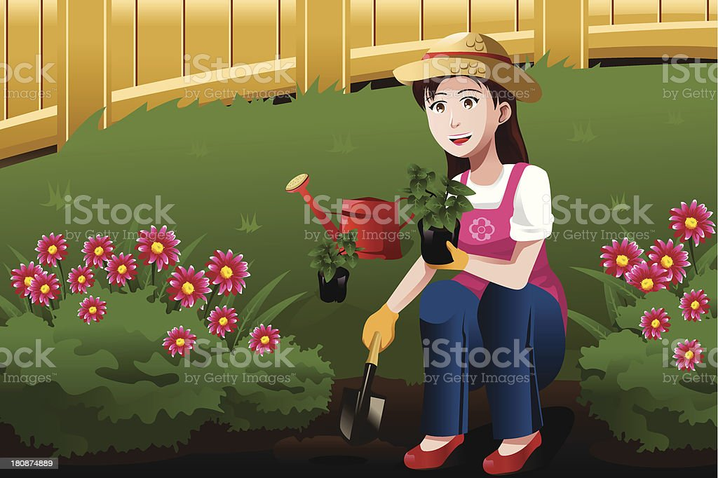 Young woman working in the yard royalty-free young woman working in the yard stock vector art & more images of activity