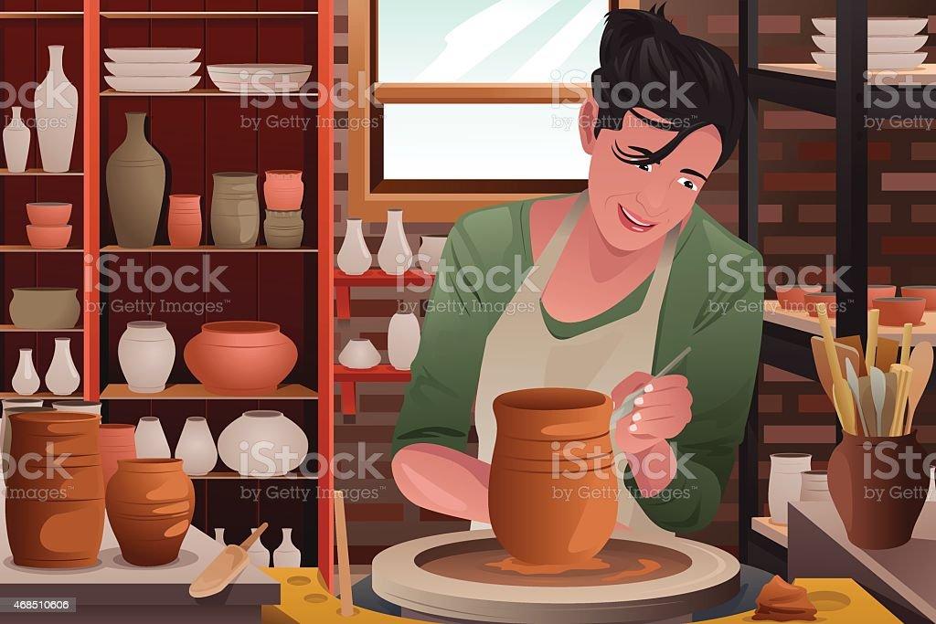 Mujer joven trabajando en un pottery - ilustración de arte vectorial