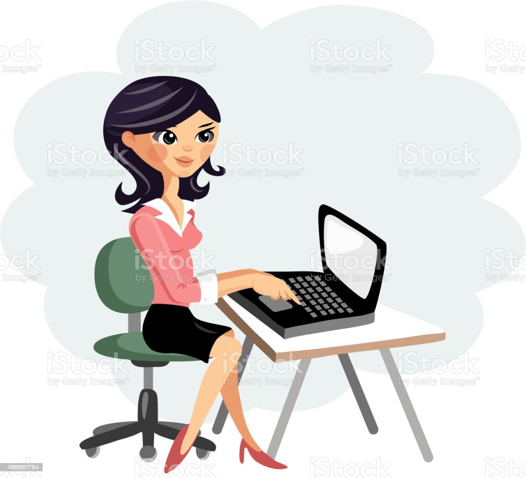 Young woman working on computer at desk, vector cartoon illustration vector art illustration