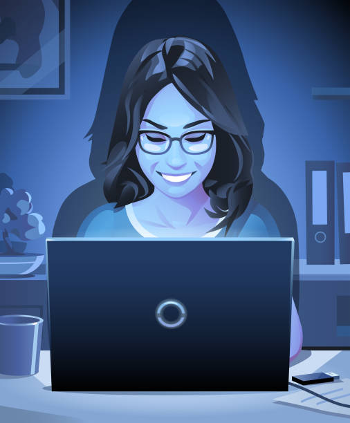 ilustrações de stock, clip art, desenhos animados e ícones de young woman working on laptop at night - girl study home laptop front