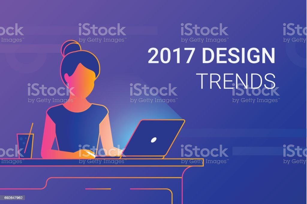 Young woman working with laptop at work desk vector art illustration