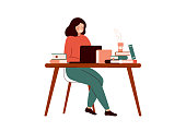 Young woman works at the laptop surrounded with books. Student or school girl preparing for exams at university or school. Flat cartoon colored vector illustration isolated on white background