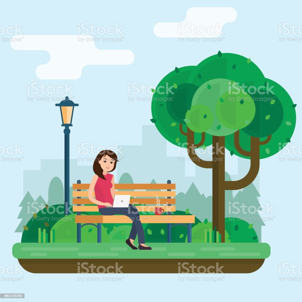 Young woman works in park with computer on bench under tree. royalty-free young woman works in park with computer on bench under tree stock vector art & more images of adult