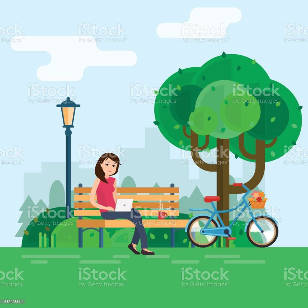 Young woman works in park with computer on bench under tree. young woman works in park with computer on bench under tree – cliparts vectoriels et plus d'images de adulte libre de droits