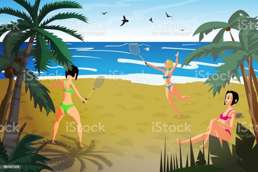Young women are engaged in sports on the beach - illustrazione arte vettoriale