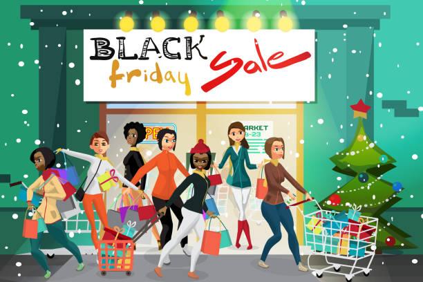 ilustraciones, imágenes clip art, dibujos animados e iconos de stock de mujeres jóvenes que salen del supermercado con las compras en el día de las ventas de viernes negro - black friday sale