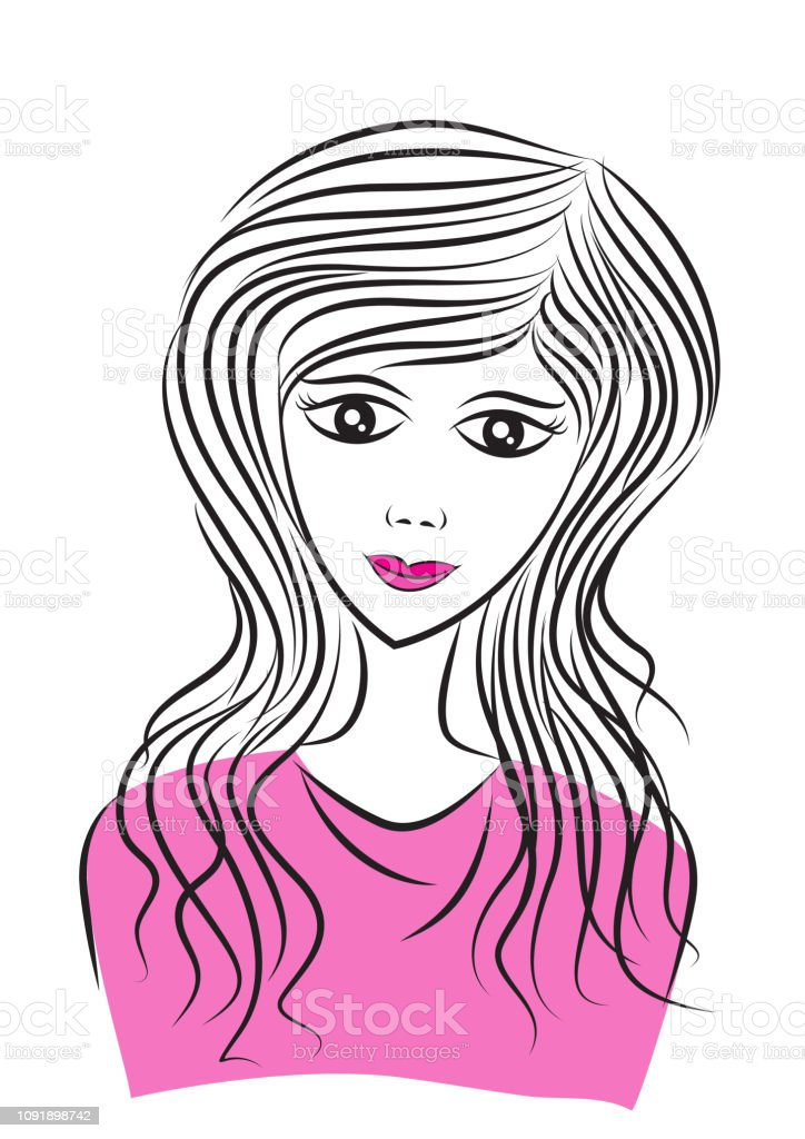 Young Women face vector illustration, long hair style icon, female face, logo, salon sign, beauty, spa, Print on a t-shirt or sticker vector art illustration