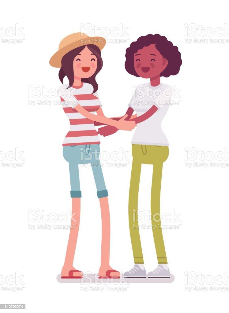 Ilustracion De Abrazo De Amistad De Las Mujeres Jovenes Y Mas Vectores Libres De Derechos De A La Moda Istock