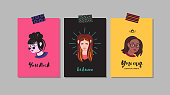 Young women motivation and support greeting cards. Naive style vector. Part two.