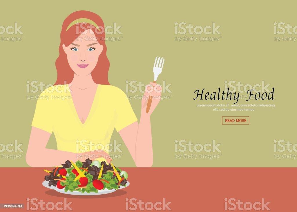 Young women holding fork to eating salad on the table. young women holding fork to eating salad on the table - arte vetorial de stock e mais imagens de adolescente royalty-free