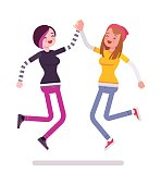 Young women jumping giving high five. Close friends and family members, fun together. Youth community and volunteer team concept. Vector flat style cartoon illustration, isolated, white background