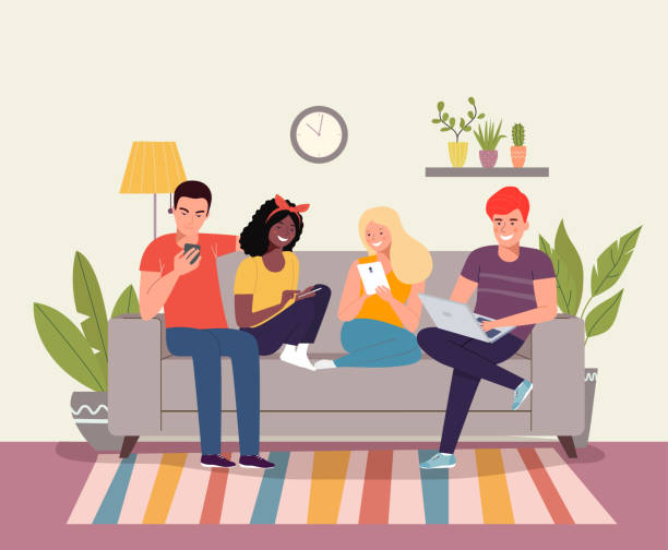 Young women, men sitting on sofa and look at gadgets in the living room. Vector flat style illustration vector art illustration