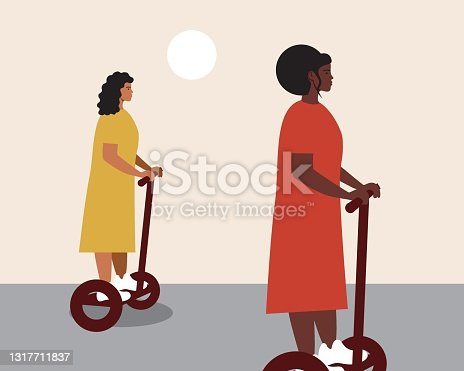 istock Young women on a gyro scooter, flat vector stock illustration with modern gyro transport technology or electronic gadget 1317711837