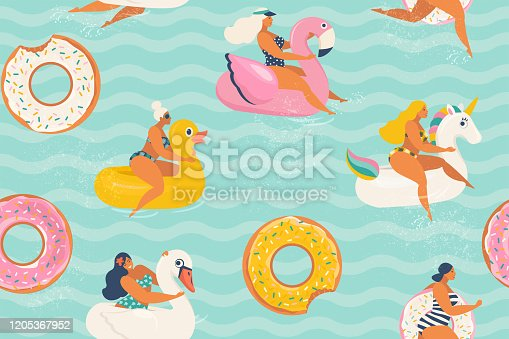 Young women relaxing and sunbathing on inflatable rings of different in shape of duck, unicorn, white swan, donut, flamingo in swimming pool. Vector illustration.