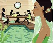 Young Women Relaxing in Spa