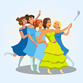 Young Women taking Selfie Vector Illustration. Hen Party, Girls Night, Birthday, Bachelorette Party. Female Cartoon Characters in Evening Dresses. Ladies, Teenagers having Fun Flat Isolated Clipart