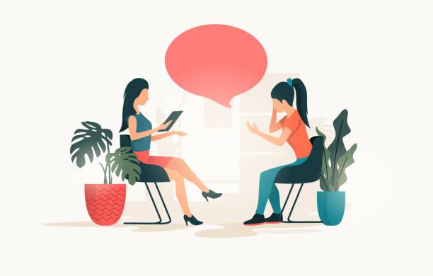 Eine junge Frau, die mit einer Therapeutin spricht – Vektorgrafik