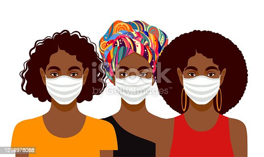 Three young women with different skin colors wearing protective masks. Vector iilustration