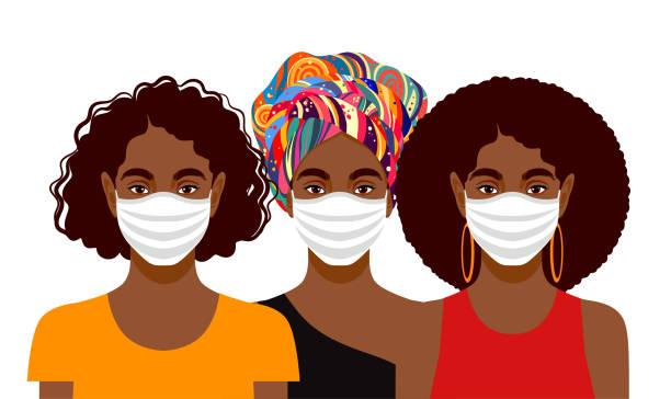 ilustraciones, imágenes clip art, dibujos animados e iconos de stock de mujeres jóvenes que llevan máscaras protectoras - black people