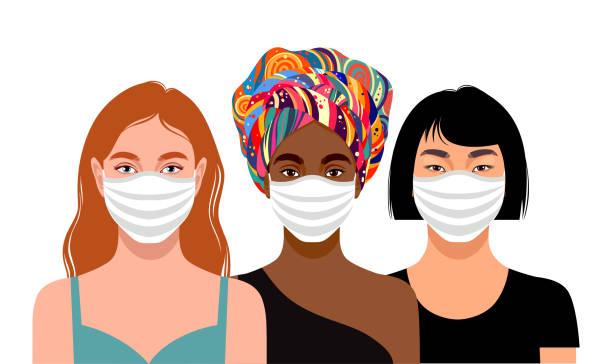ilustrações de stock, clip art, desenhos animados e ícones de young women wearing protective masks - covid hair