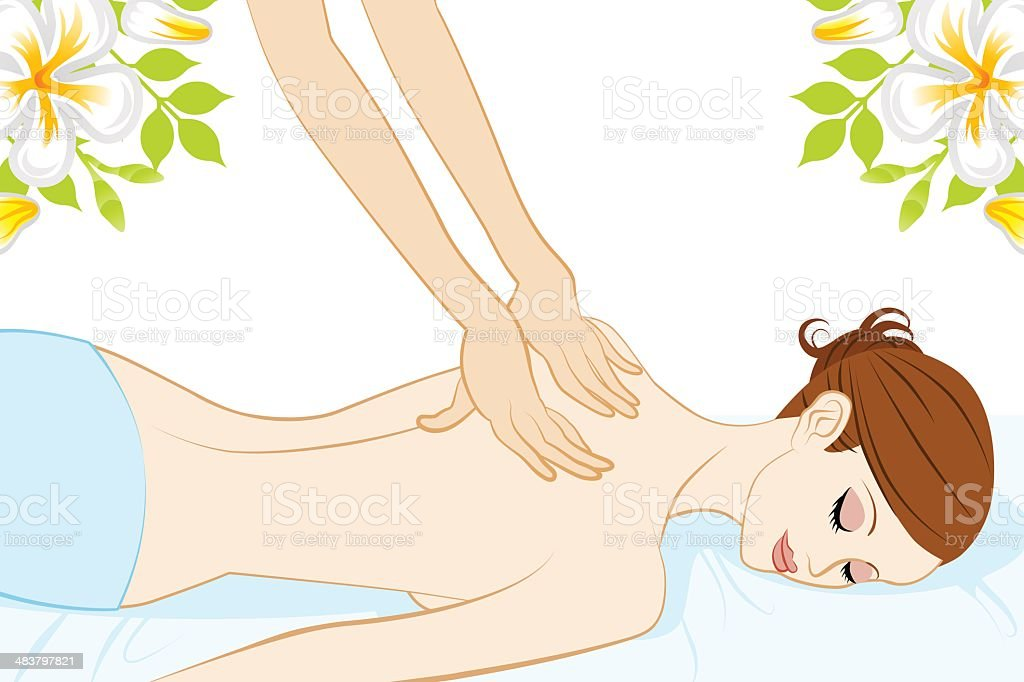 Young Women who receive back massage royalty-free stock vector art