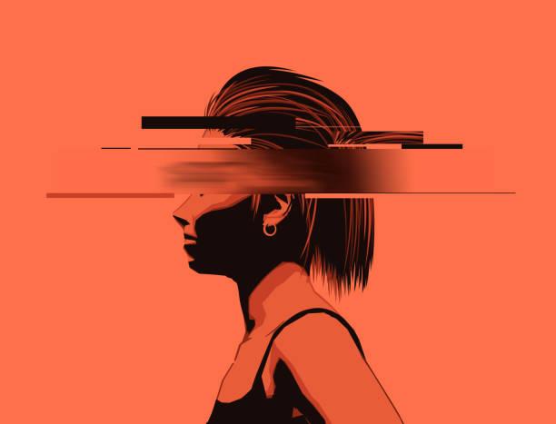 Junge Frauen mit teilweise verdunkelten Gesicht – Vektorgrafik