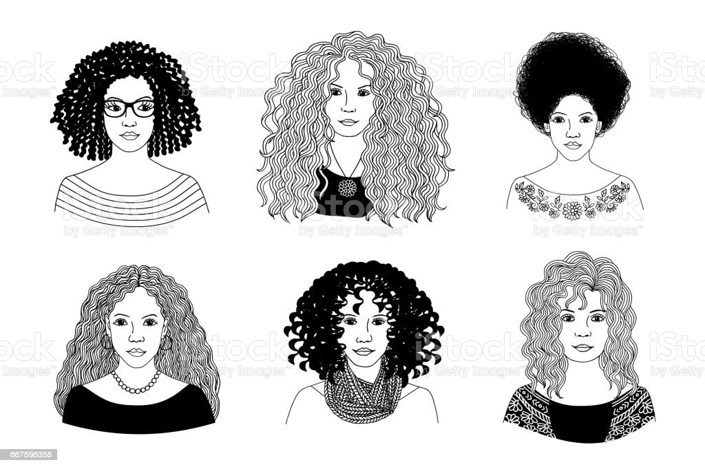 Young women with different types of curly hair vector art illustration