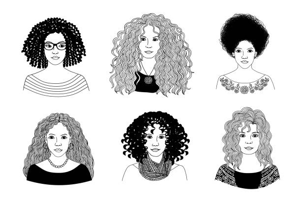 Young women with different types of curly hair - ilustração de arte vetorial