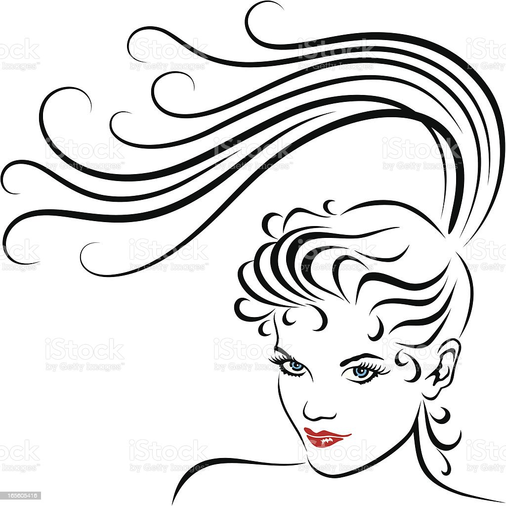Young Women with Long Ponytail vector art illustration