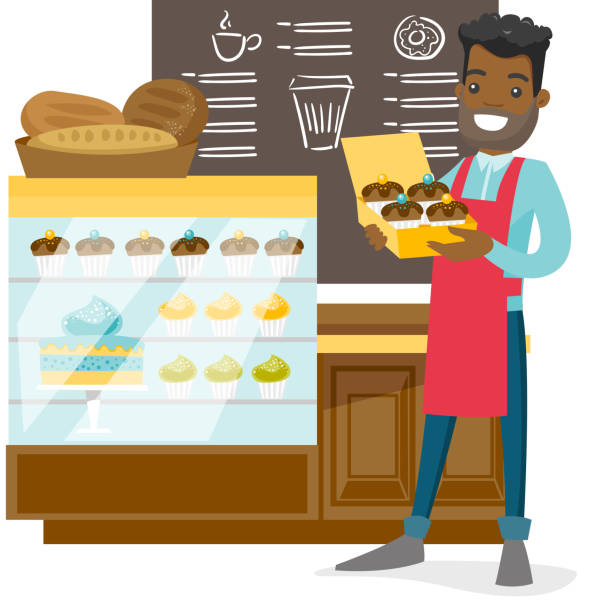 young worker of the bakery offering cupcakes - small business owner stock illustrations