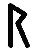 Black Simple Younger Futhark Runes Letter of Raido