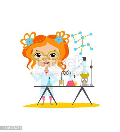 Youngest scientist. Baby kid doing chemistry experiments. Holding flask and test tube in hands. Flat style vector cartoon illustration.