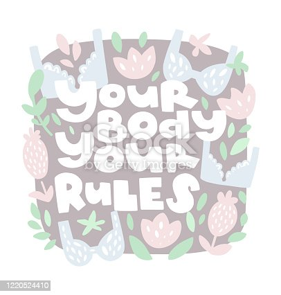 istock Your body your rules lettering poster 1220524410