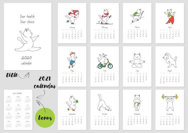 bildbanksillustrationer, clip art samt tecknat material och ikoner med din hälsa-ditt val! kalendern 2020 - calendar workout