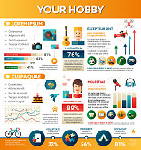 Your Hobby - info poster, brochure cover template layout with flat design icons, other infographic elements and filler text