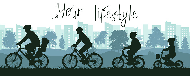 Your lifestyle, city life, silhouette of large family riding on bicycles outside city near park. Vector illustration