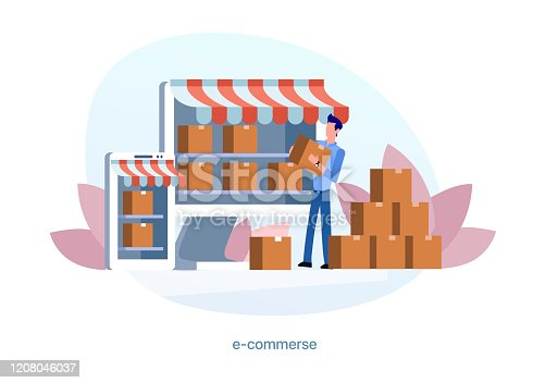 Your online business. Sale of goods via the Internet, e-commerce, online marketing, online marketplace, delivery of goods,small business, shop window, online store. Illustration in a flat style. Editable Objects.