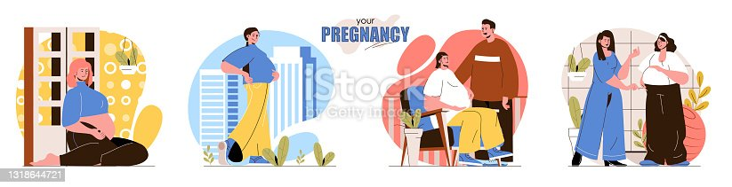 Your Pregnancy concept scenes set. Happy pregnant woman, couple expecting baby, maternity support, motherhood. Collection of people activities. Vector illustration of characters in flat design