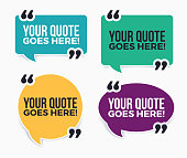Your quote here on white quote bubble with quote symbols.