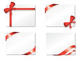 Illustration of red ribbons on white cards