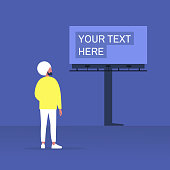 Your text here mockup, outdoor advertising, young indian male character looking at the large billboard construction